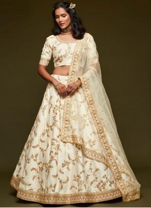 Off White Embroidered Sangeet Lehenga Choli