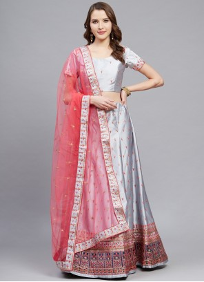Embroidered Satin A Line Grey Lehenga Choli