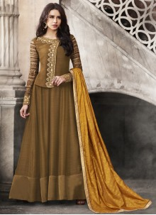 Embroidered Satin Anarkali Suit in Brown