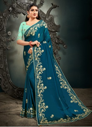 Embroidered Satin Blue Designer Saree