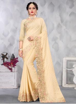 Embroidered Satin Cream Designer Saree