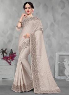 Embroidered Satin Designer Saree in Grey