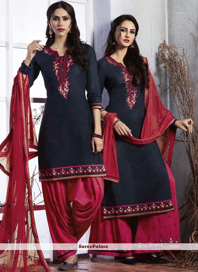 Embroidered Satin Designer Suit in Navy Blue
