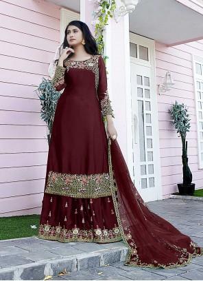 Embroidered Satin Maroon Designer Pakistani Suit