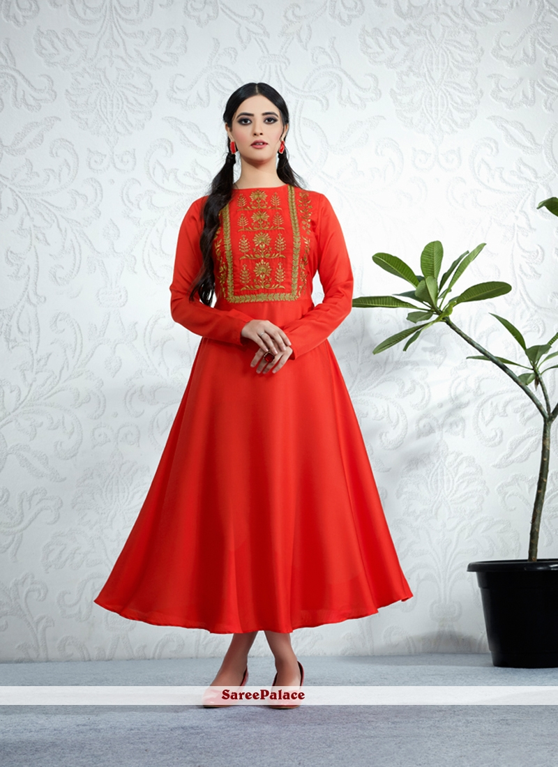 Embroidered Satin Party Wear Kurti