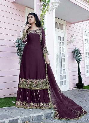 Embroidered Satin Purple Designer Pakistani Suit