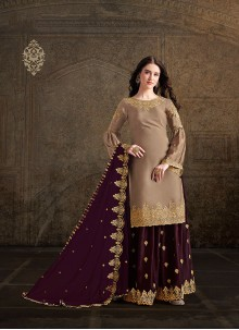 Embroidered Satin Salwar Suit