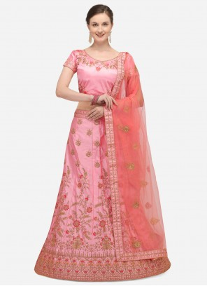 Embroidered Satin Silk A Line Lehenga Choli