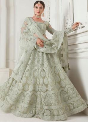 Embroidered Satin Silk Designer Lehenga Choli in Sea Green