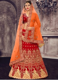 Red Embroidered Satin Silk Lehenga Choli