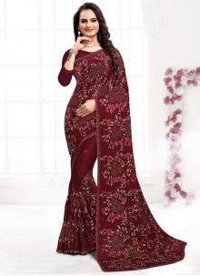 Embroidered Satin Silk Maroon Contemporary Saree