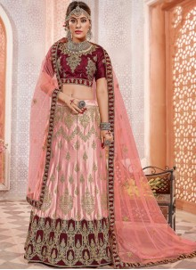 Embroidered Satin Silk Pink Lehenga Choli