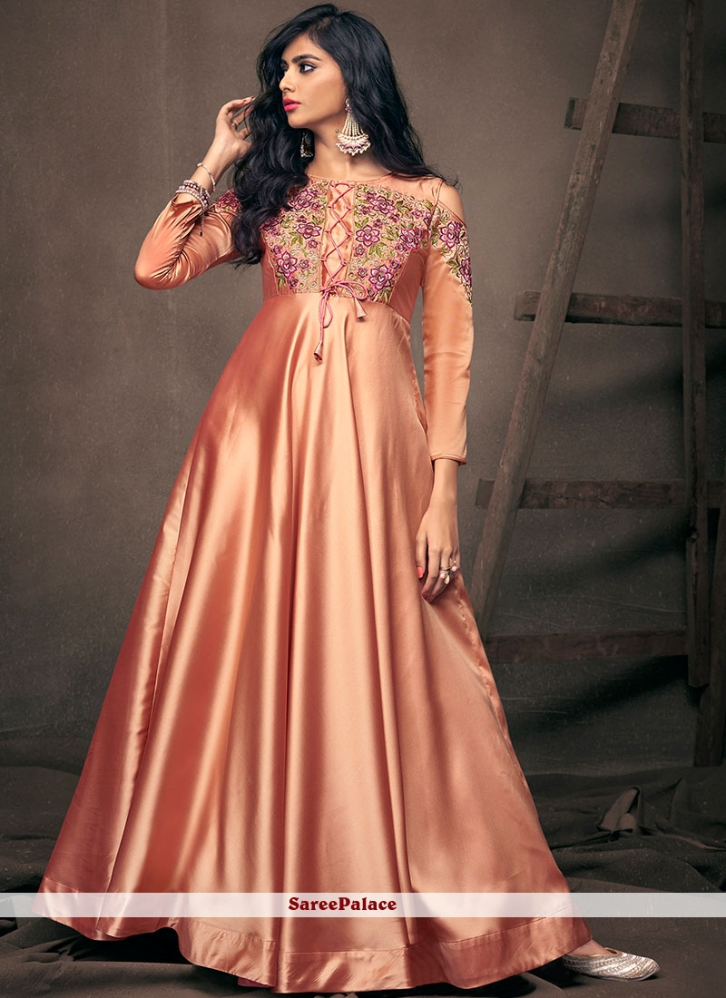 Peach Embroidered Satin Silk Readymade Gown