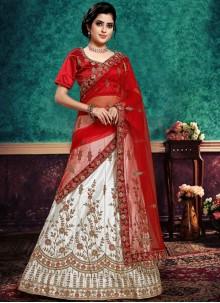 Embroidered Satin Silk Red and White Lehenga Choli