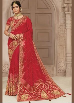 Embroidered Satin Silk Red Traditional Designer Saree