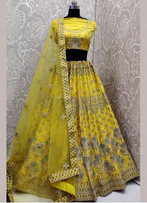 Embroidered Satin Silk Yellow Lehenga Choli