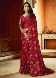 Embroidered Maroon Satin Traditional Saree