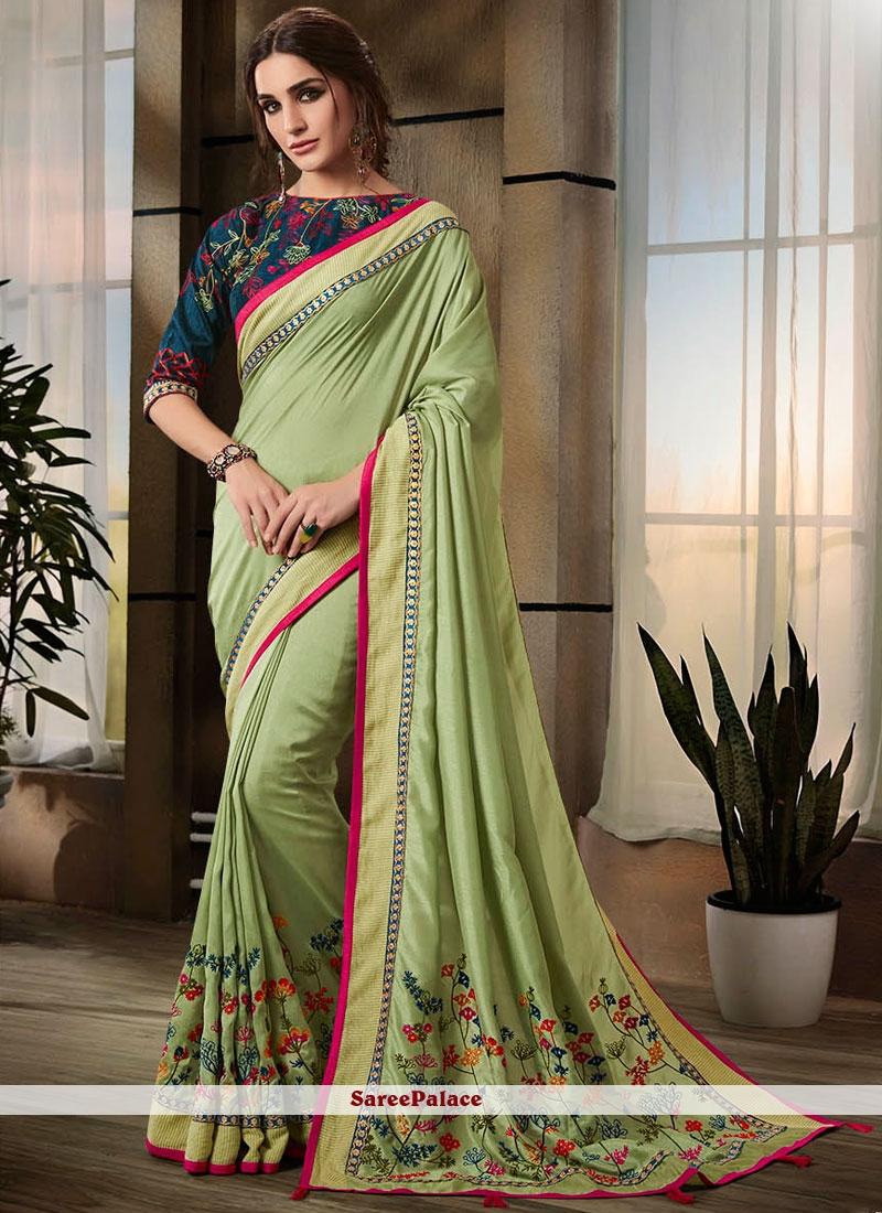 Embroidered Sea Green Jacquard Classic Saree
