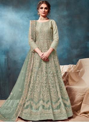 Embroidered Sea Green Net Trendy Anarkali Salwar Kameez