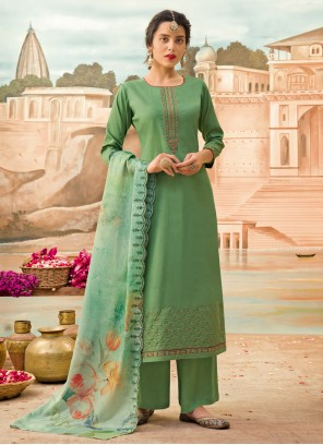 Embroidered Sea Green Silk Designer Pakistani Suit