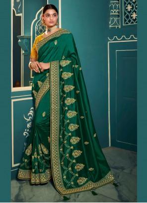 Embroidered Sea Green Silk Trendy Saree