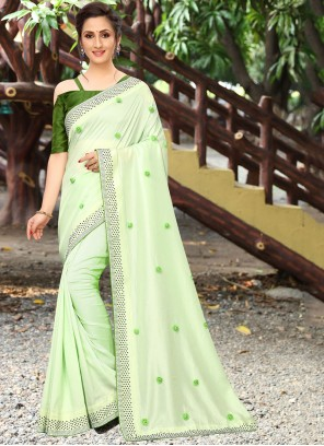 Embroidered Sea Green Traditional Saree