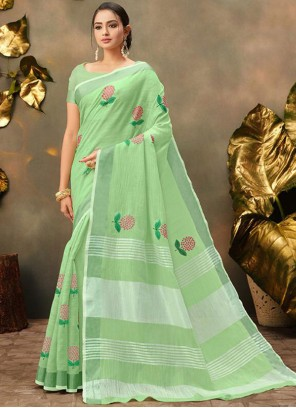 Embroidered Sea Green Trendy Saree