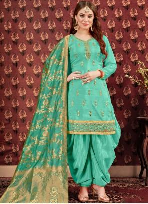 Embroidered Sea Green Viscose Designer Patiala Suit