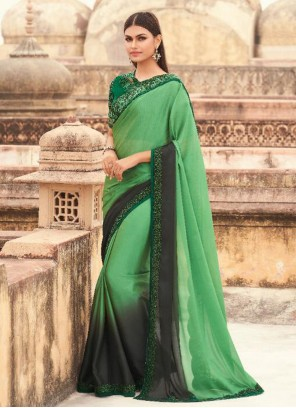 Embroidered Green Shaded Saree