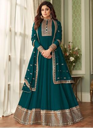 Embroidered Shamita Shetty Floor Length Designer Suit
