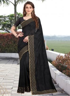 Embroidered Silk Black Traditional Designer Saree