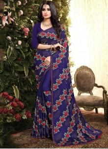 Embroidered Silk Blue Classic Saree