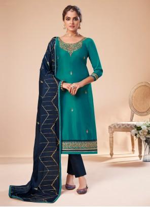 Embroidered Silk Bollywood Salwar Kameez in Teal