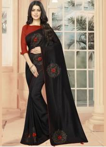 Embroidered Silk Casual Saree in Black