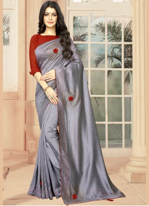 Embroidered Silk Casual Saree in Grey