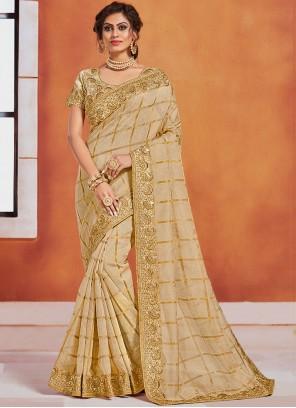 Embroidered Silk Classic Designer Saree in Gold