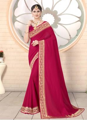 Embroidered Silk Classic Designer Saree in Rani