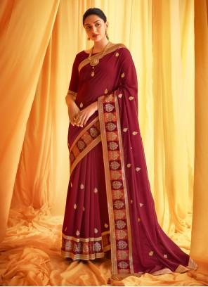 Embroidered Silk Classic Designer Saree in Wine