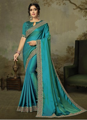 Embroidered Silk Firozi Classic Saree
