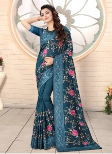 Embroidered Silk Teal Contemporary Saree