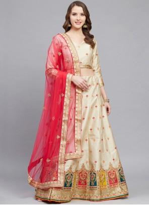 Embroidered Silk Cream Bollywood Lehenga Choli