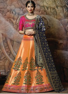 Orange Embroidered Silk Designer Lehenga Choli