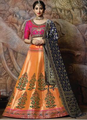Orange Embroidered Silk Designer Lehenga Choli