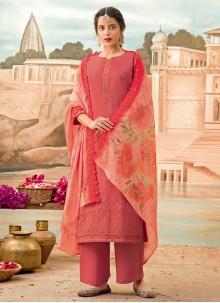 Embroidered Silk Pink Designer Pakistani Suit
