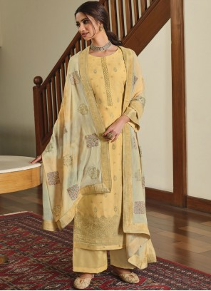 Embroidered Silk Designer Palazzo Suit in Yellow