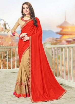 Embroidered Silk Red Designer Saree