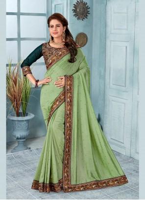 Embroidered Silk Designer Saree in Green