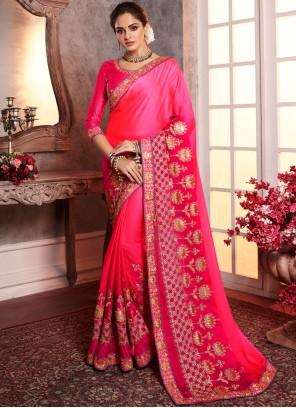 Embroidered Silk Designer Saree in Pink