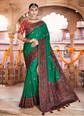 Embroidered Silk Designer Green Traditional Saree