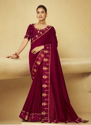 Wine Embroidered Silk Designer Traditional Saree